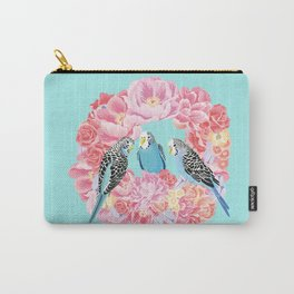 Birds of Paradise Parakeets Blue budgie Pink Peonies Flowers Wreath Carry-All Pouch