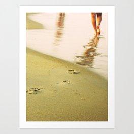 Beach walking Art Print