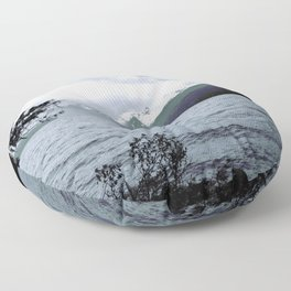 Lake, clouds and mountains (and purple forest) Floor Pillow