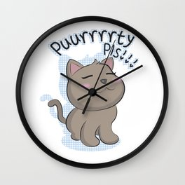 Puurrrrrty Pls!!! (Pet Me Plz!!) Wall Clock