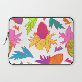 Tropical Ginger Plants in Pink + White Laptop Sleeve