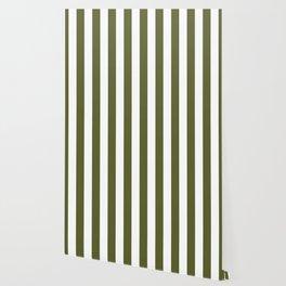 Dark Terrarium Moss Green and White Wide Vertical Cabana Tent Stripe Wallpaper