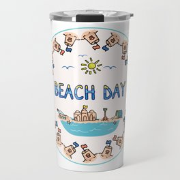 Cute summer beach day pin cartoon illustration motif set. Travel Mug