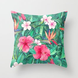 Classic Tropical Garden with Pink Flowers Throw Pillow