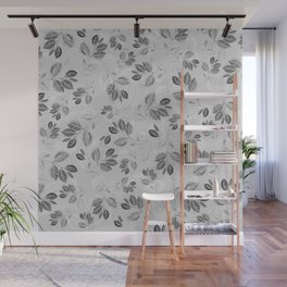 Black and White Leaves Pattern #2 Wall Mural
