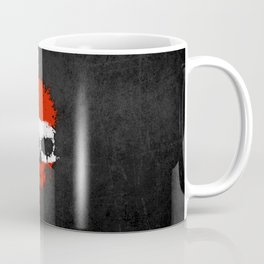 Flag of Austria on a Chaotic Splatter Skull Coffee Mug