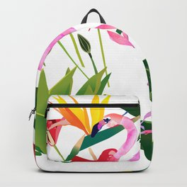 Flamingo and Flowers Backpack