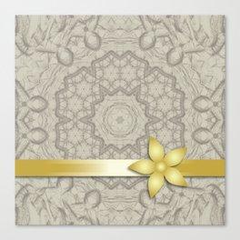 gold decoration on beige mandala Canvas Print