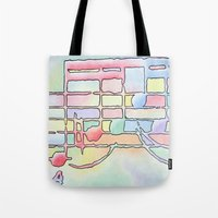 music notes Tote Bags featuring Music Notes by Rick Borstelman