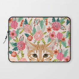 Orange Tabby floral cat head cute pet portrait gifts for orange tabby cat must haves Laptop Sleeve