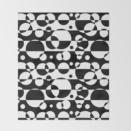Black White Geometric Circle Abstract Modern Print Throw Blanket