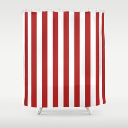 Narrow Vertical Stripes - White and Firebrick Red Shower Curtain
