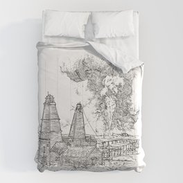 Oil well on fire - Derrick - 19th Century Comforters