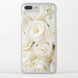 Elegant White Roses Clear iPhone Case