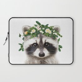 Baby Raccoon With Flower Crown, Baby Animals Art Print By Synplus Laptop Sleeve