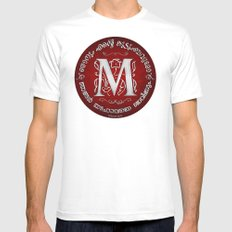 Joshua 24:15 - (Silver on Red) Monogram M White MEDIUM Mens Fitted Tee