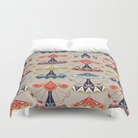 damask Duvet Covers featuring carousel damask by Sharon Turner