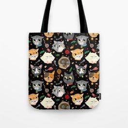 Neighborhood Cats in Black Tote Bag