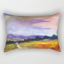 The Good Life, Landscape Watercolor Painting Rectangular Pillow