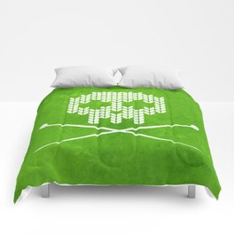 Knitted Skull / Knitting with Attitude (white on apple green) Comforters