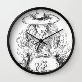 kitchen witch black and white Wall Clock