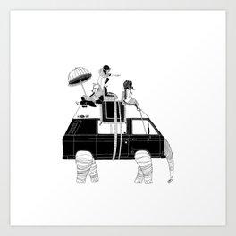 Elephant Camper Van Art Print