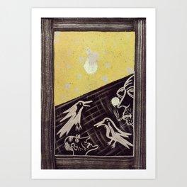 Birds of the moon Art Print