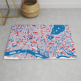 Hamburg City Map Poster Rug