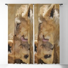 Loving nature of a lion cub Blackout Curtain