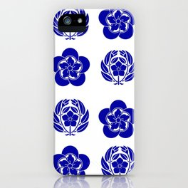 Flower and Leaves Quilt Blue and White iPhone Case