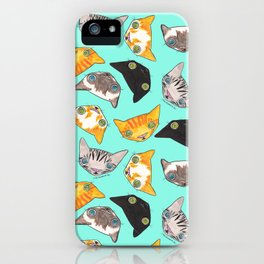 """""""Oro?"""" Cats-Turquoise iPhone Case"""