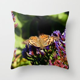 Painted Lady on Statice Blooms Throw Pillow