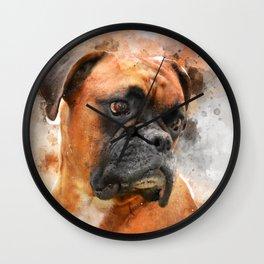 Boxer Dog Thinking Wall Clock