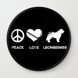 Peace, Love, Leonberger Wall Clock