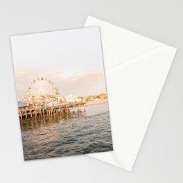 Sunset At Santa Monica Pier Ferris Wheel Photo | Pastel Sky California Beach Art Print | USA Travel Photography Stationery Cards
