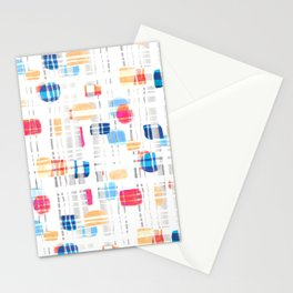 Colorful Abstract Gouache Shapes & Plaid Stationery Cards