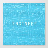 engineer Canvas Prints featuring Engineer - BLUE by Be Raza