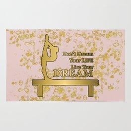 Live Your Dream Golden Gymnastics Graphic Design Rug