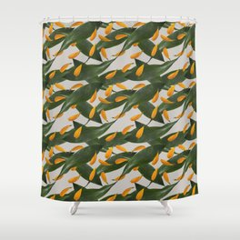 Vintage Style Seamless Pattern Green Leaf and Orange Petals Shower Curtain