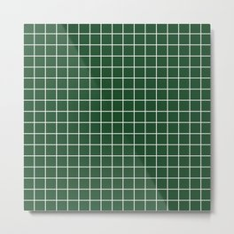 Cal Poly Pomona green - green color - White Lines Grid Pattern Metal Print