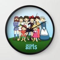hayao miyazaki Wall Clocks featuring Miyazaki Girl's by TubaTOPAL