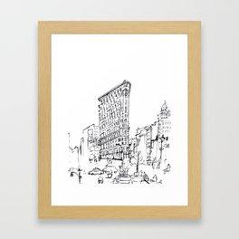 NYC Flatiron Building Sketch Framed Art Print