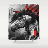 native american Shower Curtains featuring Native American Horse Spirit by Maioriz Home