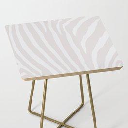 Tan & Off White Zebra Print Side Table