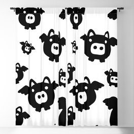 Pigs Will Fly (b&w) Blackout Curtain