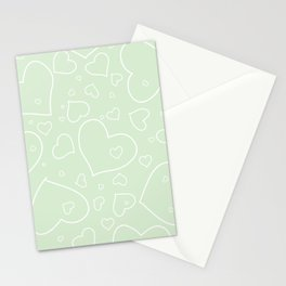 Palest Green and White Hand Drawn Hearts Pattern Stationery Cards