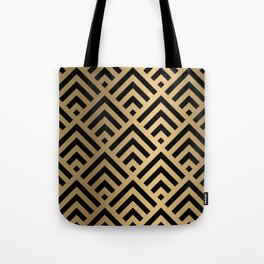 Gold and Black geometric art deco diamond pattern Tote Bag