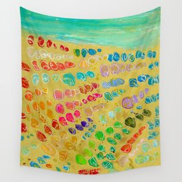 March of the colorful seashells to the beach Wall Tapestry