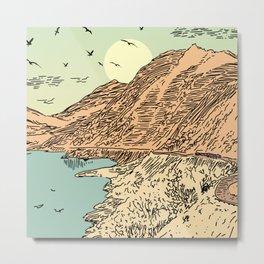Mountain, Train & Lake Metal Print