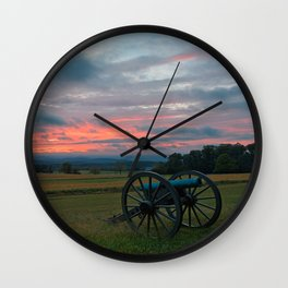 Gettysburg Cannon Sunset Wall Clock